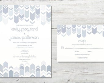 INSTANT DOWNLOAD dusty blue fillable wedding invitations chevron grey gray wedding invitations geometric arrowhead printable downloadable
