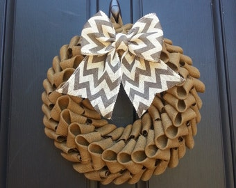 Burlap petal wreath, burlap wreath,gray chevron burlap wreath,front door wreath