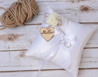 Wedding Ring Pillow Cushion Rustic Ring Bearer Satin Personalized Ring Holder Bearer ring pillow