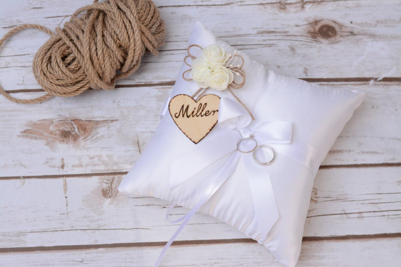 wedding ring pillow cushion rustic ring bearer satin