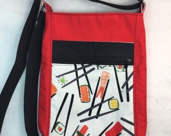 Chopsticks and Sushi crossbody bag in red **ON SALE!!!**