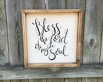Bless The Lord Oh My Soul | Medium Rustic Sign | Home Decor | Mantle Sign | Gallery Wall | Worship