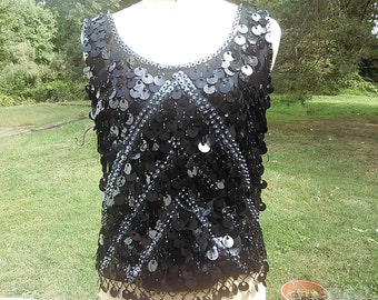 Vintage 1960s Hong Kong Sequined Top
