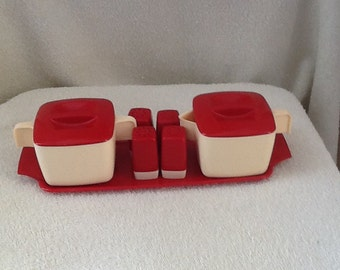 Vintage melamine 12 piece condiment set with tray.