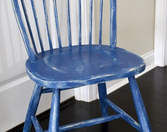 Vintage Distressed Wood Chair Painted with Annie Sloan Napoleonic Chalk Paint