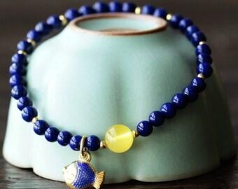 Lapis Fish Bracelet