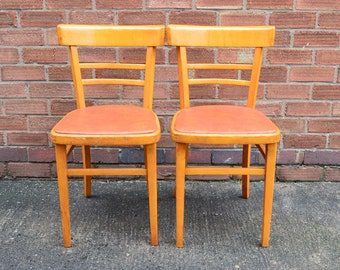 2x Vintage Retro Wooden Dining Kitchen Cafe Chairs Vinyl Seat