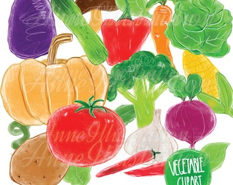 Vegetable Clipart,Handdrawn Clipart,Food clipart,Personal & Commercial use,Instant download_FV2