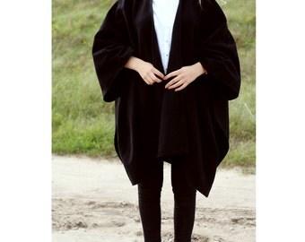 Black wool poncho coat cape