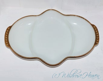 Anchor Hocking Fire King Milk Glass Divided Serving Dish - 283