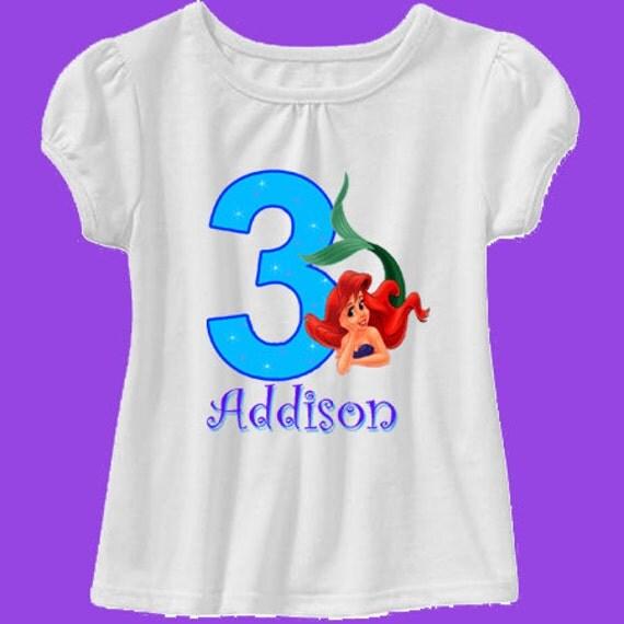 Little mermaid birthday shirt princess ariel birthday shirt