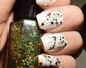 Christmas Sparkle Nail Polish// Christmas Nail Polish// Top Coat// Red Polish// Green Polish