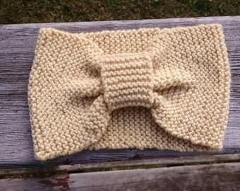 Hand knit wool headband - hand knit ear warmer