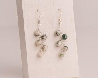 Tree Agate Zig-Zag Earrings