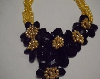 Black Onyx Gold Pearl Necklace