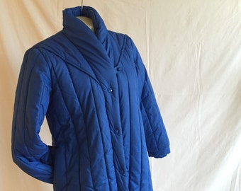 Grandma's Vintage Royal Blue Quilted Pillow Trench S/M