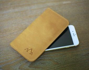 Traveler's iPhone 6 Wallet - Genuine Leather - Handcrafted - Card Holder