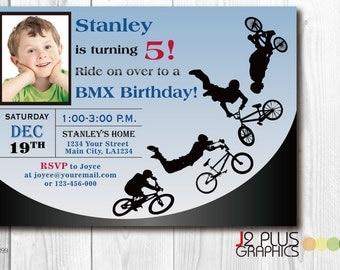 Bicycle Photo Birthday Invitation card, Photo Bicycle Birthday Invitation With Photo, Photo Birthday Party Invitations, BMX Bike Invites