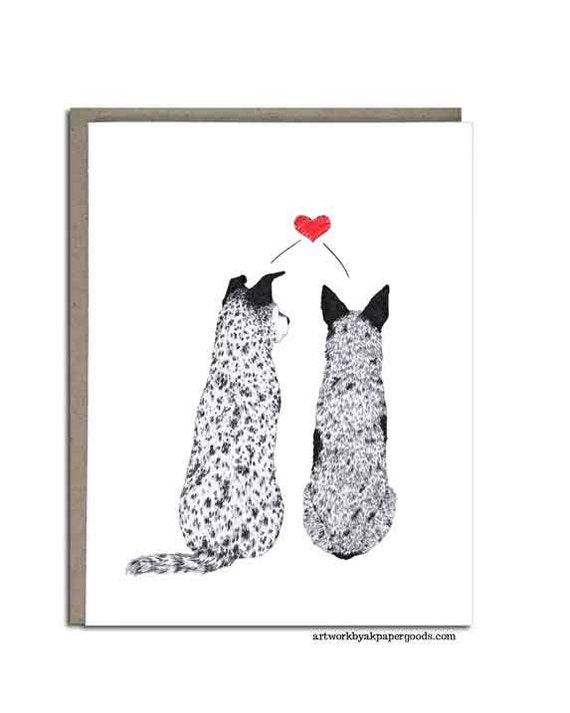 "Valentines Day, Australian Cattle Dog, Blue Heeler, Love Greeting Cards, 4x5, ""Puppy Love"""