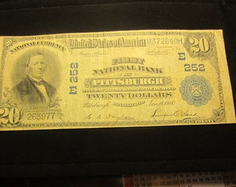 Large Twenty Dollar Series Of 1902 National Bank Note Pittsburg Blue Seal
