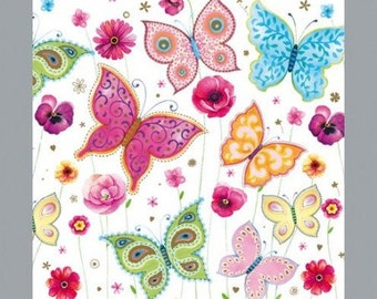 2 x napkin 3 - ply, butterflies, 33 x 33 cm, colorful with butterflies 1/2 design - perfect for decoupage