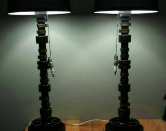 Custom camshaft lamps with welded gear as the base