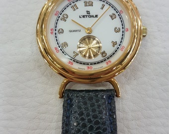 Leather strap with gold plated UNISEX watch legitimate