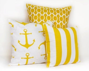 Yellow and White Pillow Cover, One Nautical Pillow Cover in Corn Yellow and White, Nautical Pillow Covers with Invisible Zipper