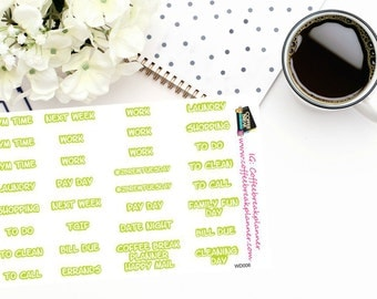 Planner Stickers in lime green | Various Words for your Planner and Journal|Word Stickers|Weekly Word Stickers|WD006
