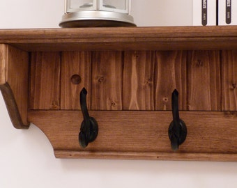 Entryway Coat Rack Wood Wall Shelf 35 Inches-Full color pattern/antique black hooks