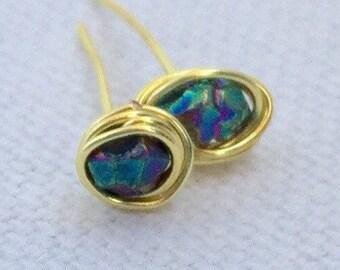 Gold Earrings - Teal Earrings - Blue Earrings - Stone Earrings - Wire Wrapped Earrings - Stainless Steel Earrings - Hypoallergenic Earrings