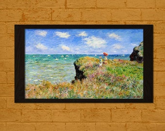 Claude Monet Print The Cliff Walk at Pourville 1882 - Printed On Textured Bamboo Paper Monet Poster Art Reproduction Gift Idea Monet Prints