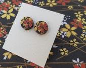 Cherry blossom stud earrings - Japanese Yuzen paper round stud earrings ~ red gold cherry blossom