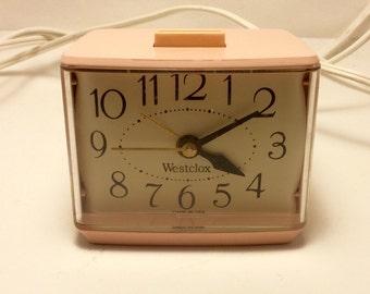 Vtg Softee Pink Alarm Clock Westclox Model #22250