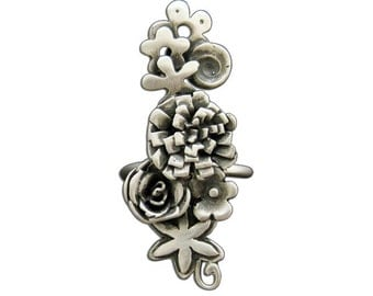 30% Off! Sterling Silver Bouquet Ring Adjustable