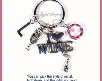SALE I love Wine Keychain, Wine Key Chain, Vineyard Keyring Glass Bottle Gift Alcohol Jewelry Bartender 21st Birthday present Party Girl her