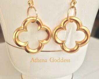 Earrings Clover Quatrefoil Gold