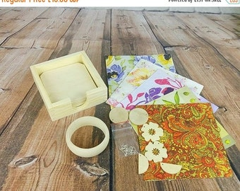 Decoupage Set/ Wooden Square COASTERS/wooden jewelery