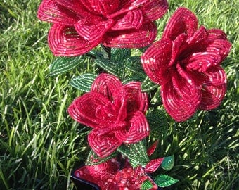 Handmade beaded roses