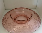 Etched Pink Depression Glass Console Bowl