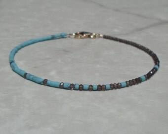 Turquoise Bracelet, Genuine Turquoise, Asymmetric Bracelet, Smoky Quartz Bracelet, Dainty Beaded Bracelet, Skinny Beaded Bracelet, Anklet