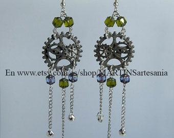 Steampunk silver-plated earrings