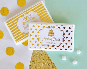 Personalized Metallic Foil Mini Mint Favors - Wedding - 24 pieces