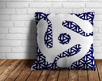 45 RPM Adaptor Blue Outdoor Throw Pillow