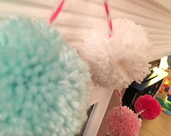 Pom pom garland, pink and teal garland, yarn garland, pom pom decor