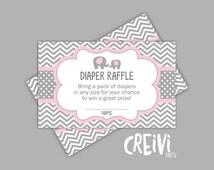 Instant Download Pink and Grey Elephant baby shower, Diaper raffle tickets, DIY, Printable ( EL003)