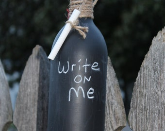 Chalk Wine Bottle - wine, message, bottle, bar