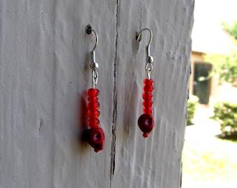 Bright Red Skull Earrings