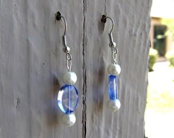 Blue & Pearl Earrings
