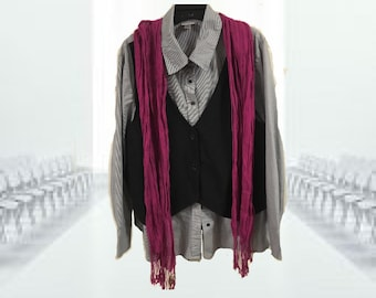 SALE...,,Plus size blouse with faux vest,...black and white striped_